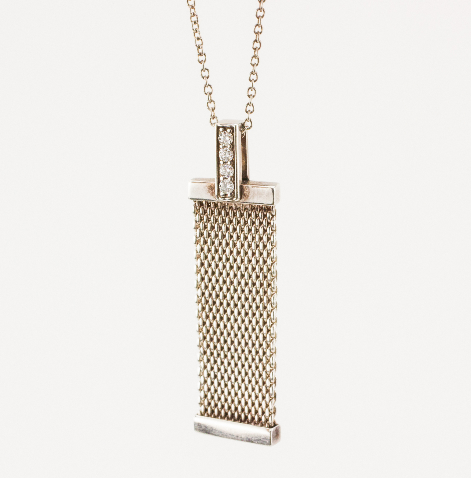 Tiffany co sterling silver mesh and diamond pendant necklace tiffany co sterling silver mesh and diamond pendant necklace aloadofball Images