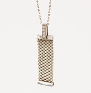 TIFFANY & CO Sterling Silver Mesh and Diamond Pendant Necklace