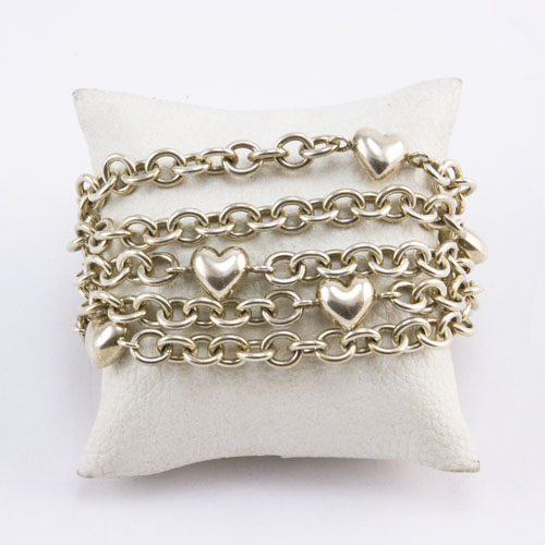 7a40e710d TIFFANY & CO Sterling silver 5 strand chain link heart toggle ...