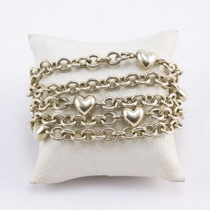 TIFFANY & CO Sterling silver 5 strand chain link heart toggle bracelet
