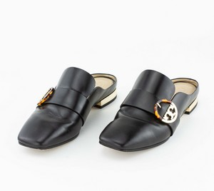 TORY BURCH Black Leather Loafer Slides with Gold Buckle