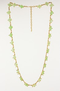 VALENTINO Gold Tone Vintage Green Jewel Long Necklace