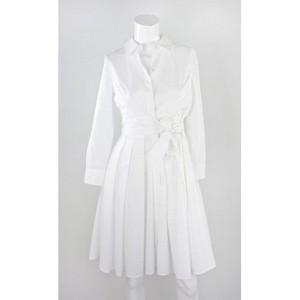 VALENTINO White long sleeve pleated dress with tie front size 4