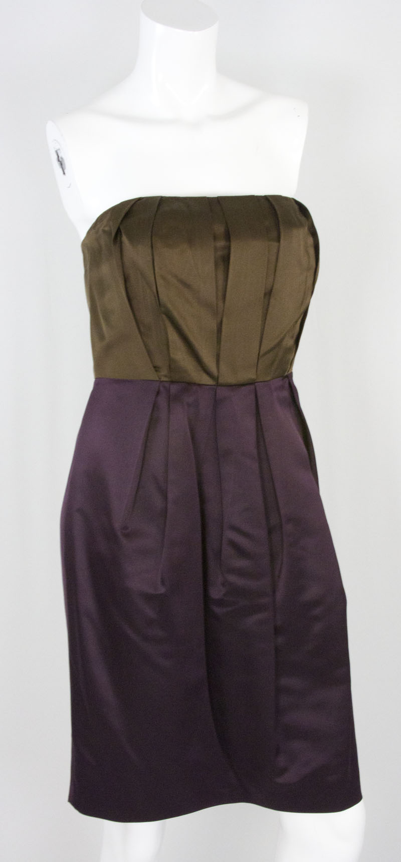 VERA WANG Purple and brown strapless silk dress size 10 | Penny ...