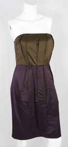 VERA WANG Purple and brown strapless silk dress size 10