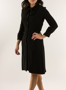 VIKTOR & ROLF Black long sleeve jersey knit dress w/removable belt size EU 40