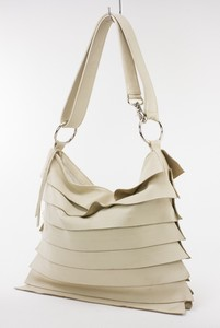 VIOLET Beige Purse w/ Layered Leather Flaps & Adjustable Shoulder Strap