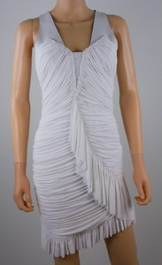 WILLOW FOR HARVEY NICHOLS White poly fitted body con ruffled dress size 4