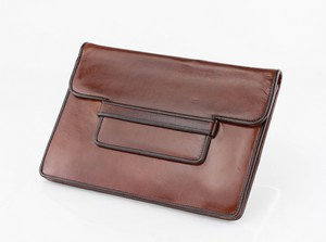 YVES SAINT LAURENT Brown Leather Vintage Envelope Clutch