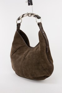YVES SAINT LAURENT Brown suede Mombasa shoulder bag with engraved silver handle