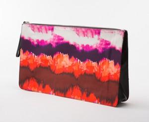 ZARA BASIC Orange & Multicolored Tie Dye Striped Abstract Printed Clutch