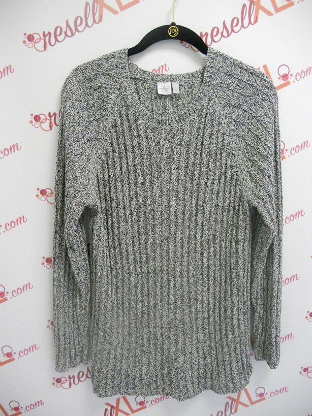 Anne-Klein-Size-2X-Navy-and-White-Light-Weight-Sweater_2958A.jpg