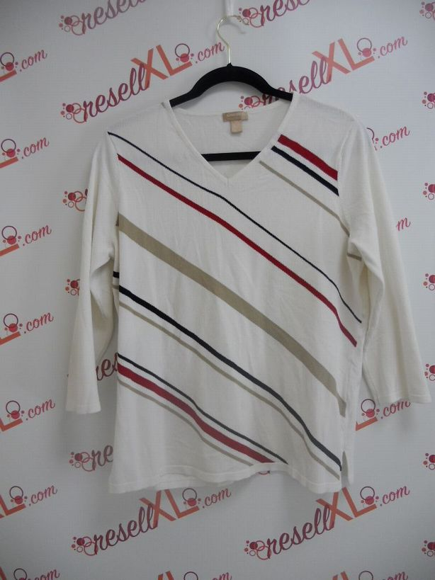 Nordstrom-Size-XL-White-Lightweight-Sweater-Top-w-Stripes_2962A.jpg