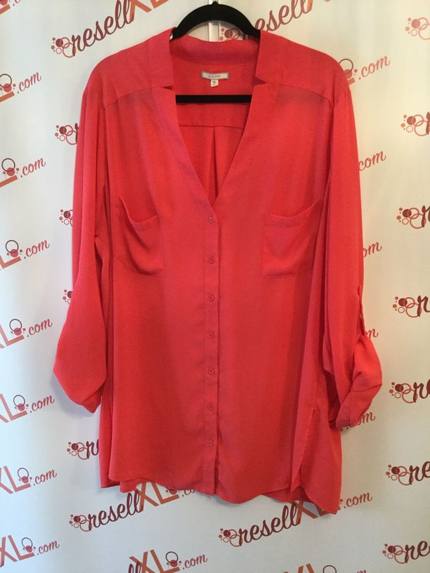 Pleione-Size-3X-Salmon-34-Sleeve-Tab-Button-Down-Blouse_2852A.jpg