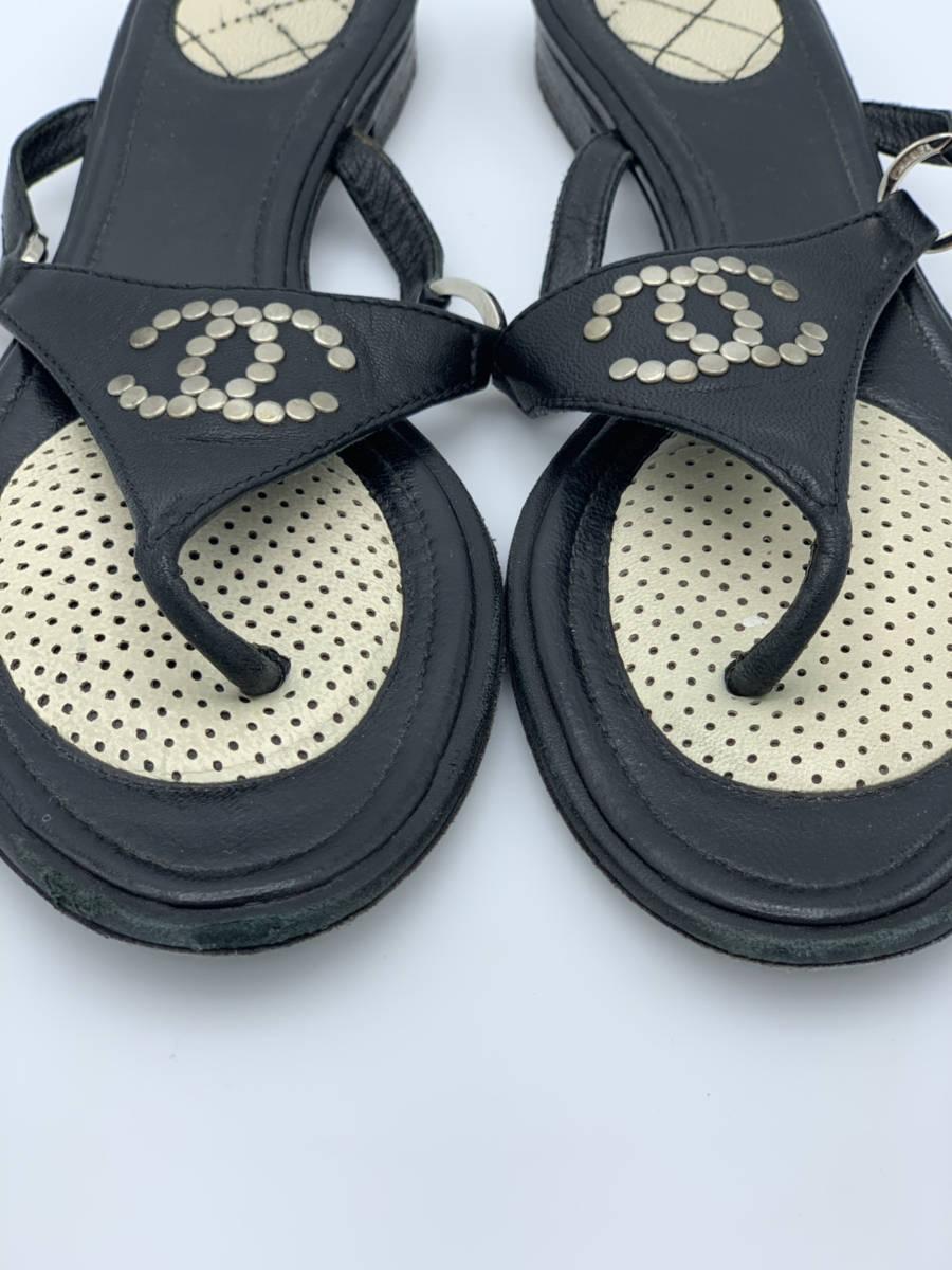 Chanel-Black-Leather-Sz-38.5-Thong-Sandal-Flip-Flop-Shoe-CC-Stud-Logo-Designer_12737E.jpg