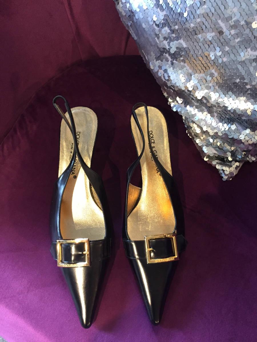 37d2979e317 Dolce   Gabbana Black Leather Pointed Toe Gold Buckle Slingback Shoe ...