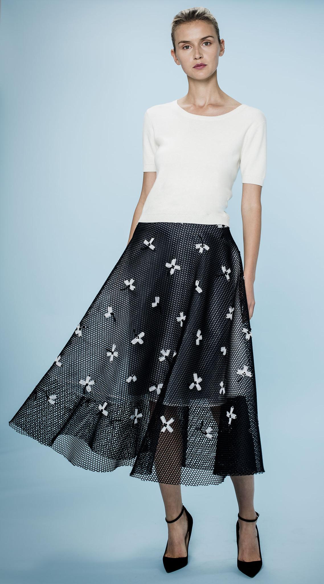 0702404a1 Sachin + Babi Noir Sz 6 Ameya Mesh Midi Overlay Skirt Embroidered ...
