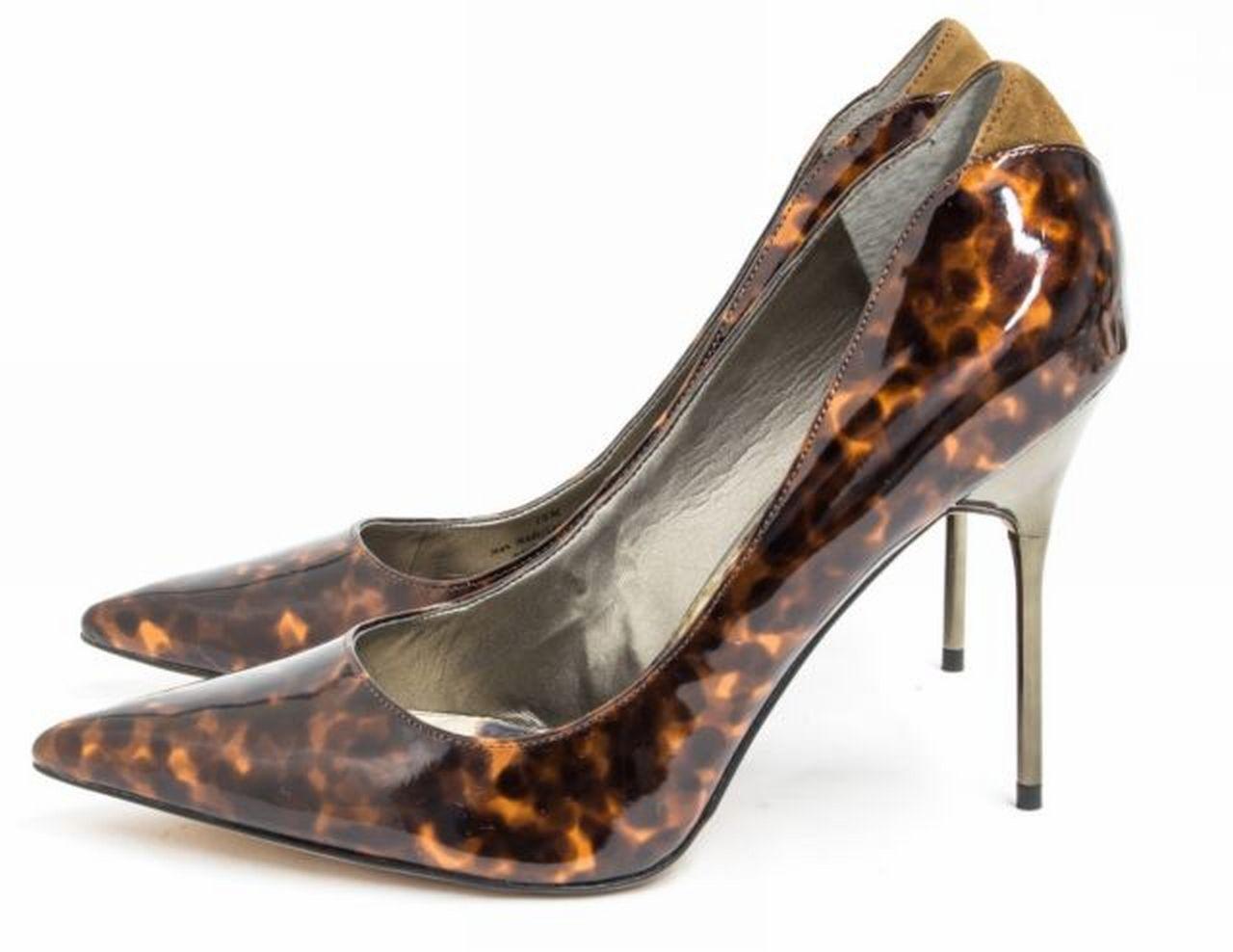 d0b2039465e8 Sam Edelman Danielle Sz 8 Tortoise Pump Silver Heel Re Soled Patent ...