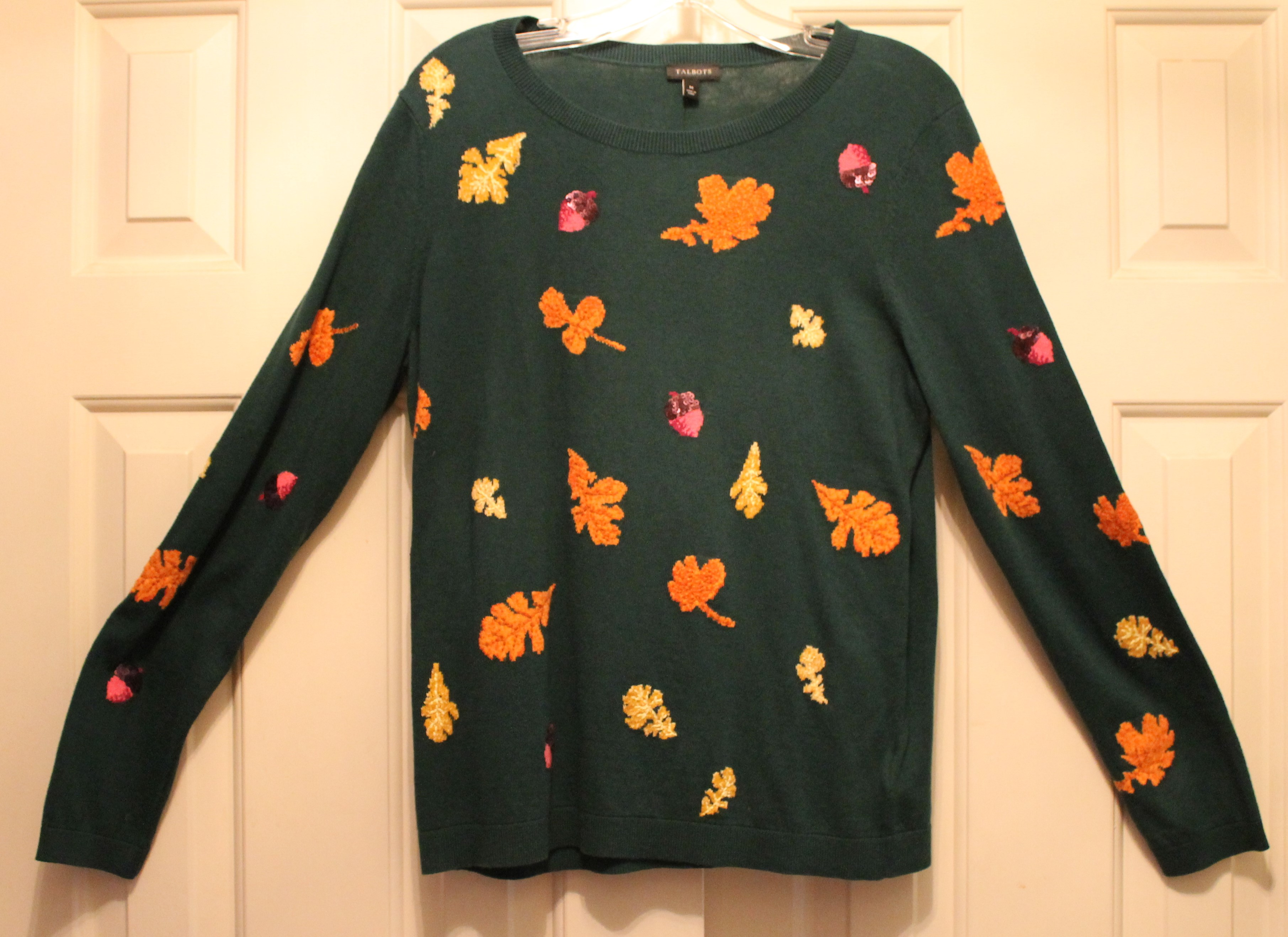 Talbots-Size-M-Green-Cotton-Blend-AUTUMN-Long-Sleeve-Top_64049A.jpg
