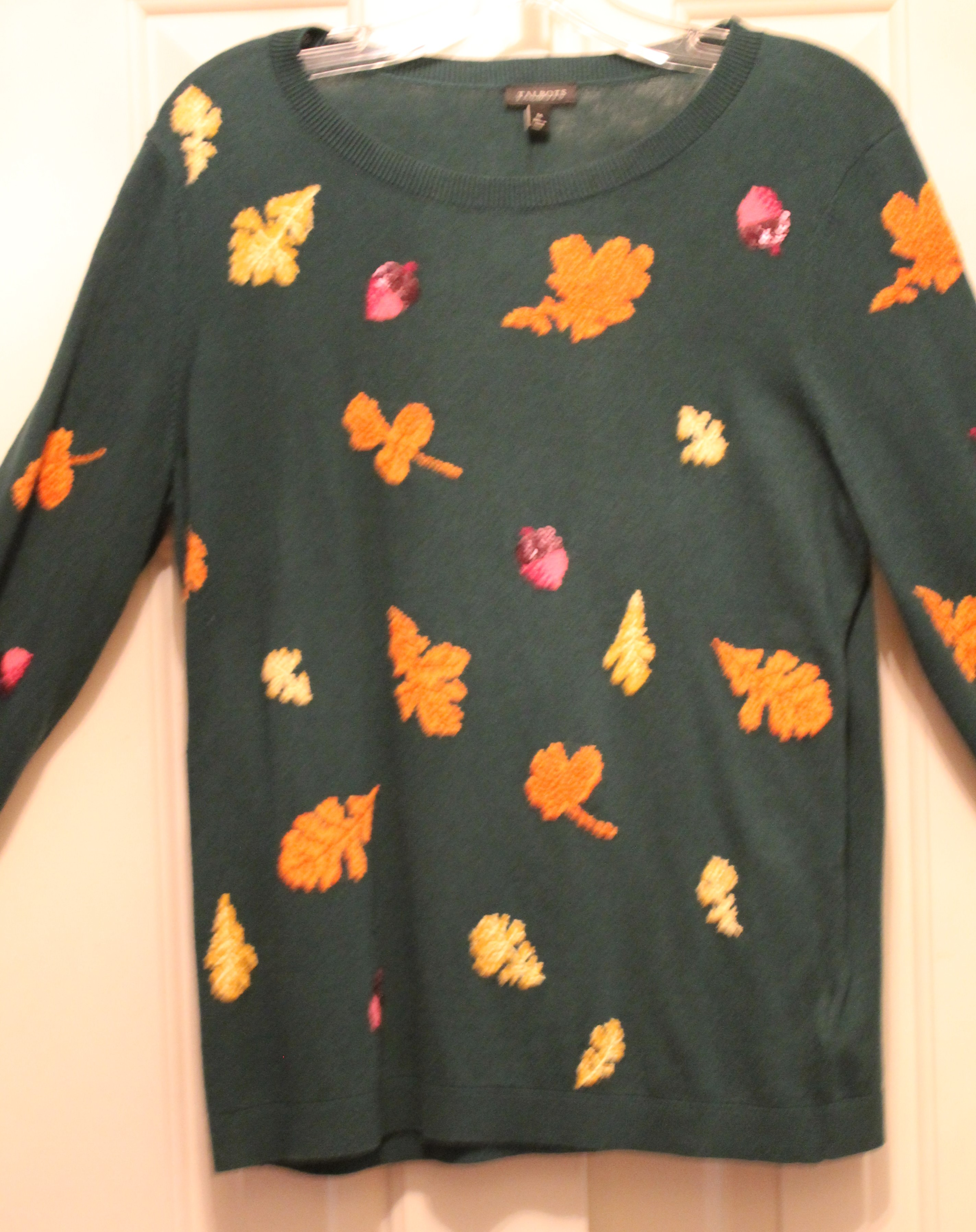 Talbots-Size-M-Green-Cotton-Blend-AUTUMN-Long-Sleeve-Top_64049C.jpg