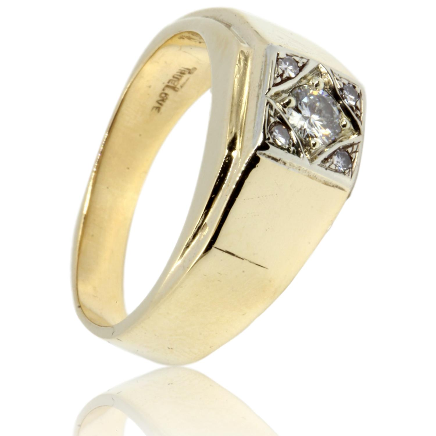 14k Gold 31ctw Diamond Mens Ring Upscale Consignment