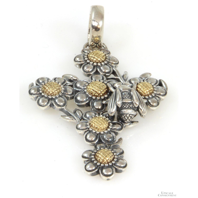 KC-Studios-Sterling-Silver--14K-Gold-Flower---Bee-Cross-Enhancer-Pendant_90040A.jpg