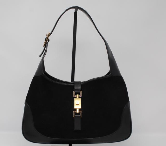 ba7b4f55e9415 Gucci Black Suede Leather Hobo Gold Hardware Bag Purse 1599-44-22419 ...