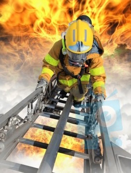 firefighter training climbing ladder inferno