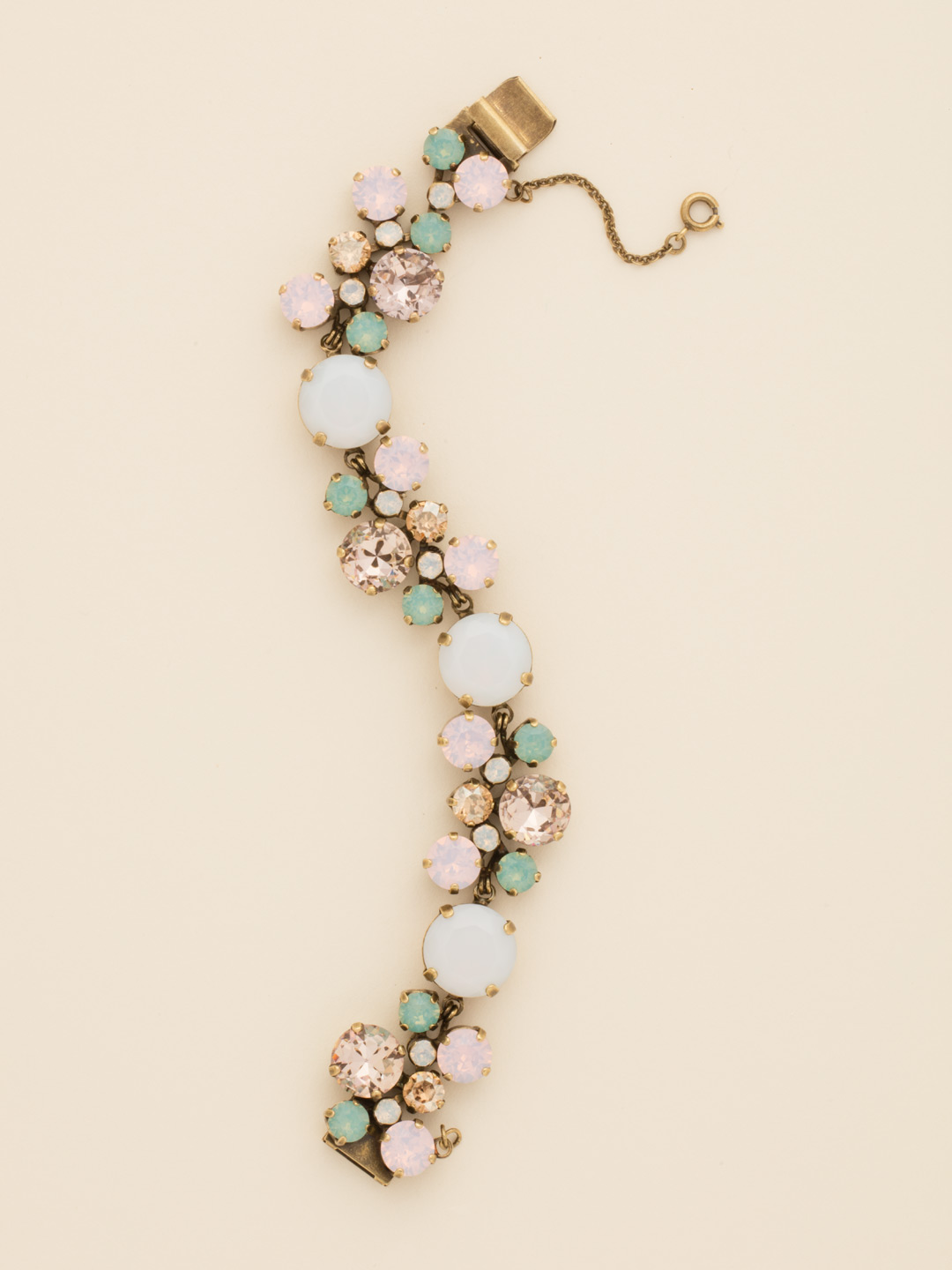Circular Crystal Cluster Line Bracelet in Rose Water