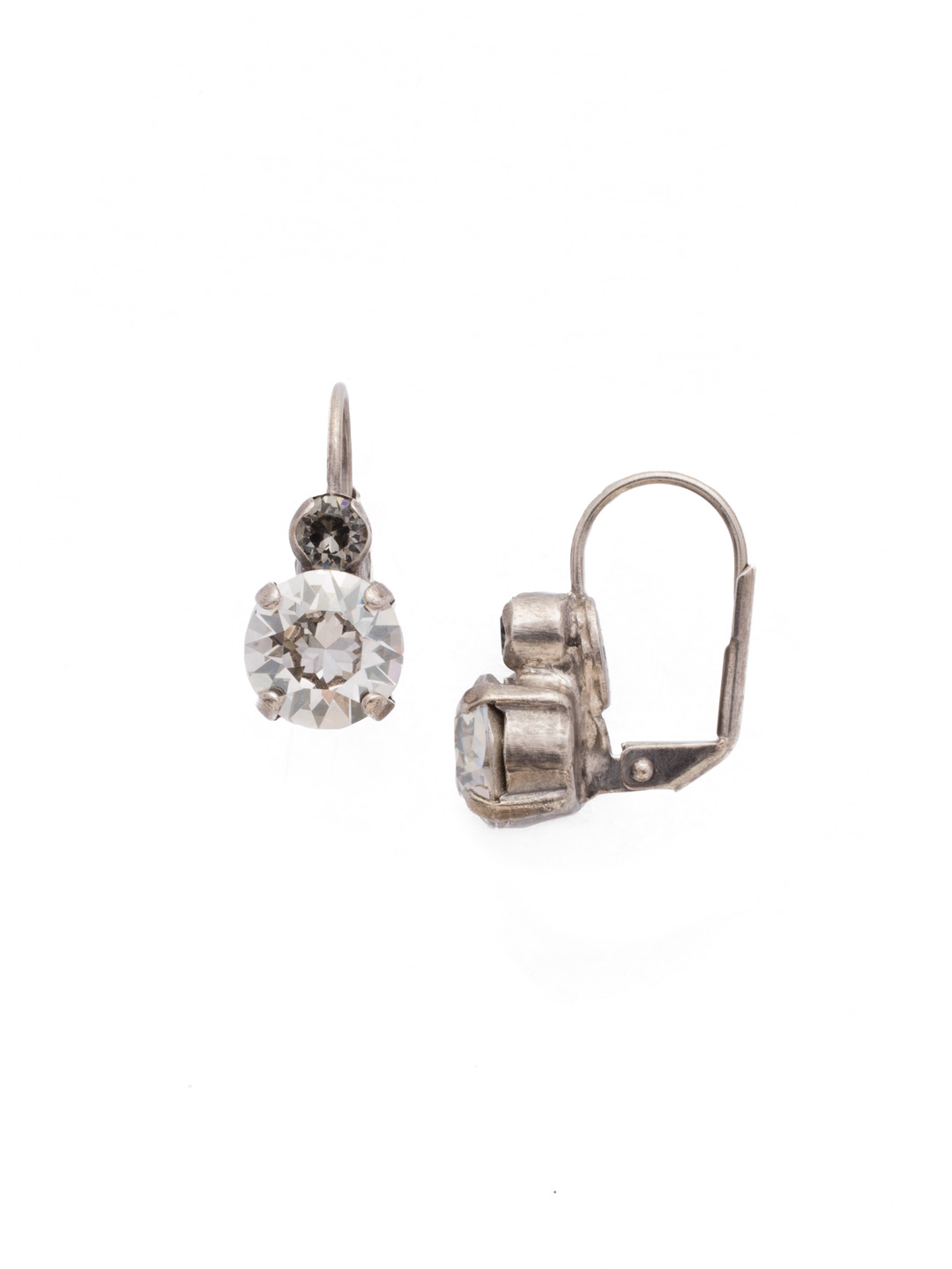 round crystal french wire earring in crystal rock