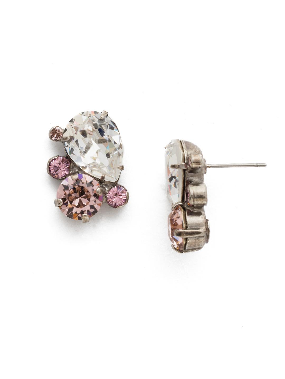 Tilted Teardrop Cluster Post Earrings in Crystal Rose