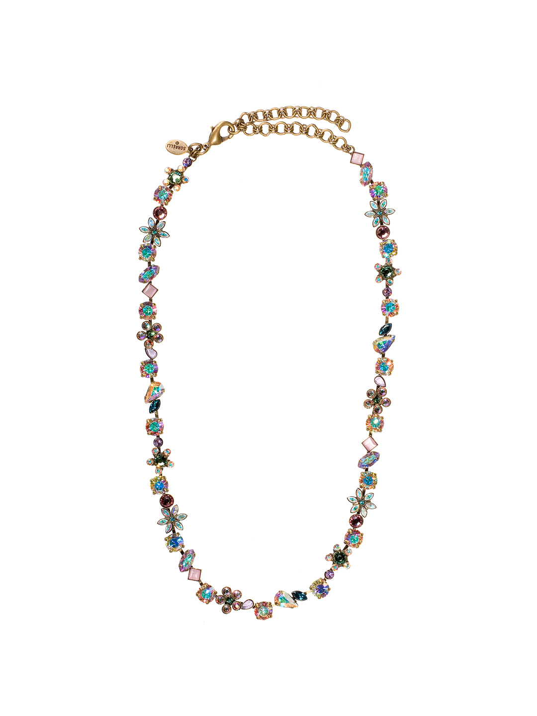 6c555aa78 Classic Swarovski Crystal and Opaque Stone Floral Necklace in Smitten