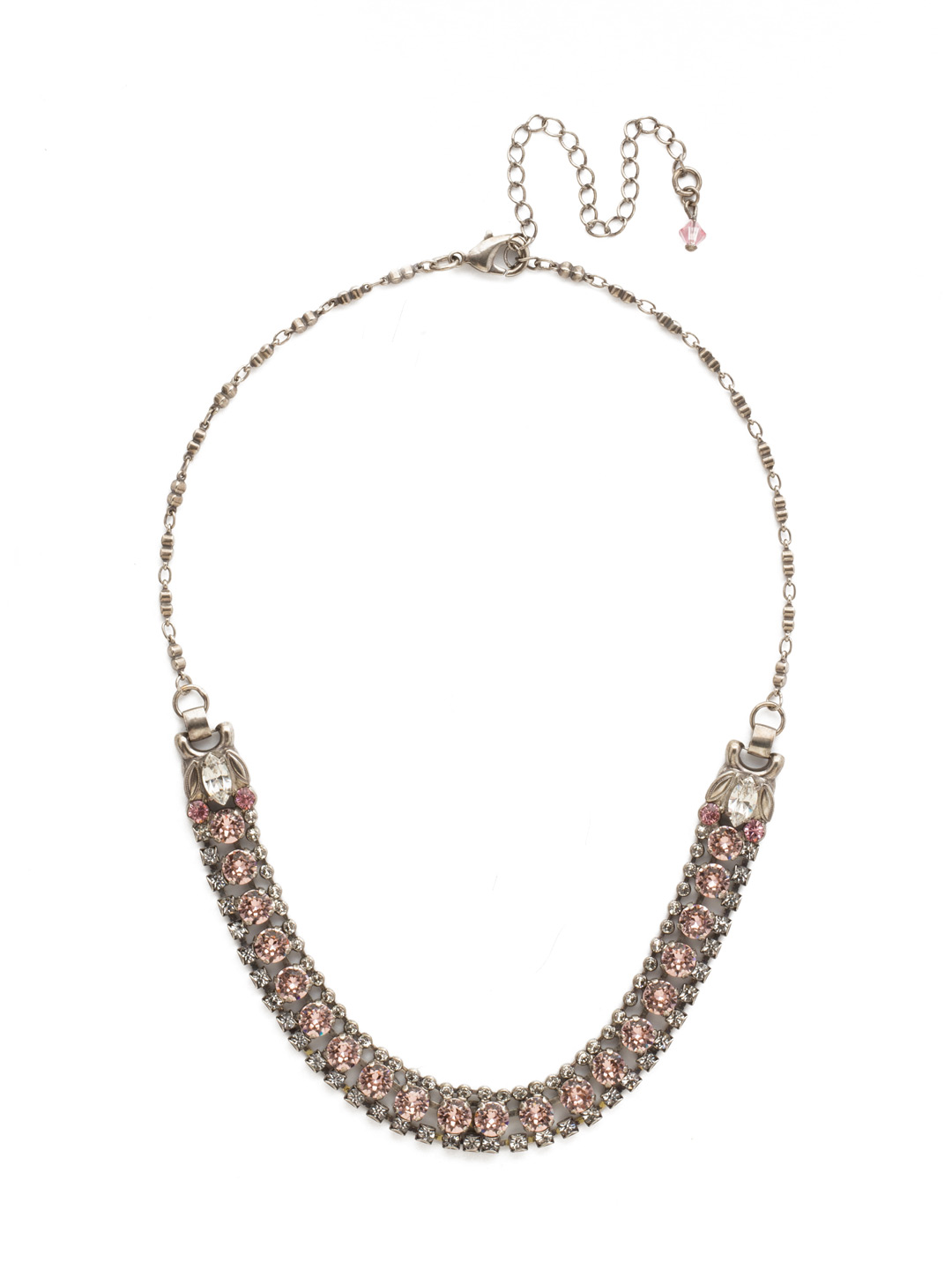 Right on Track Necklace in Crystal Rose
