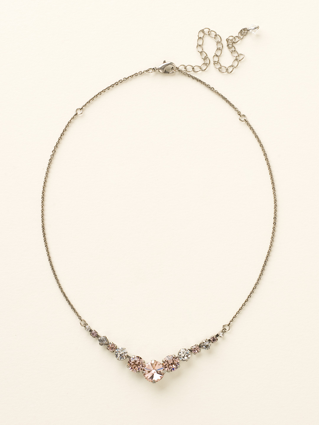 Delicate Round Crystal Necklace in Crystal Rose