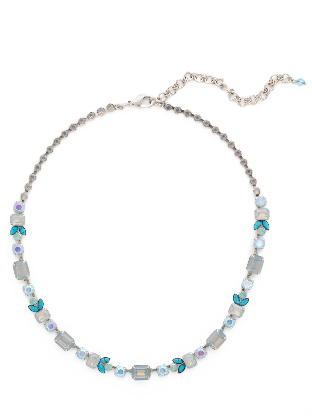 Classic Emerald Line Necklace In Teal Textile Sorrelli