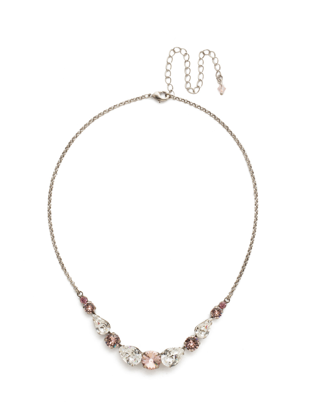 Polished Pear Necklace in Crystal Rose