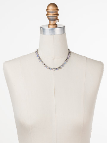 Luxe Lace Necklace in Antique Silver-tone Pink Mutiny displayed on a necklace bust