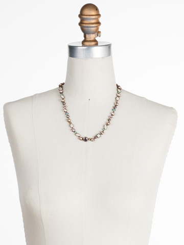 Classic Tee-Shirt Necklace in Antique Gold-tone Apricot Agate displayed on a necklace bust