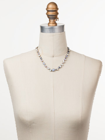 Classic Tee-Shirt Necklace in Antique Silver-tone Glacier displayed on a necklace bust