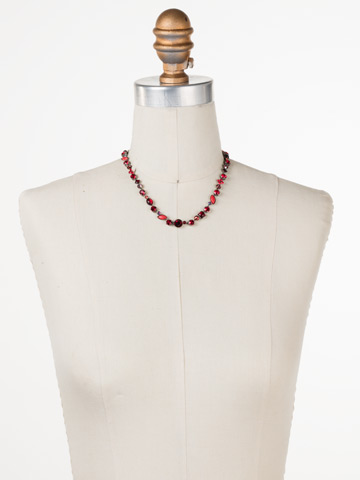 Classic Tee-Shirt Necklace in Antique Silver-tone Red Ruby displayed on a necklace bust