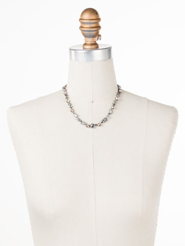 Classic Tee-Shirt Necklace in Antique Silver-tone Snow Bunny displayed on a necklace bust