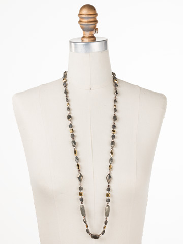 Rock and Roll Necklace in Antique Silver-tone Modern Metallic displayed on a necklace bust