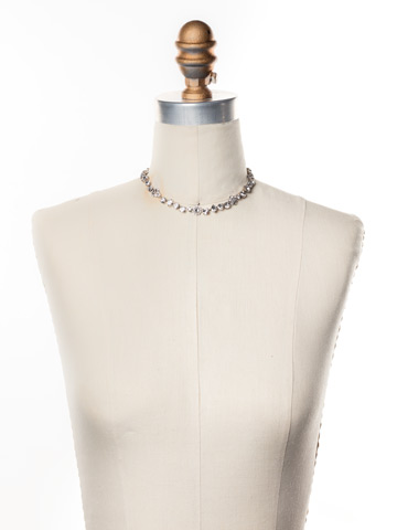 Classic Crystal Floral Necklace in Antique Silver-tone Crystal displayed on a necklace bust