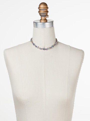 Classic Crystal Floral Necklace in Antique Silver-tone Lilac Pastel displayed on a necklace bust