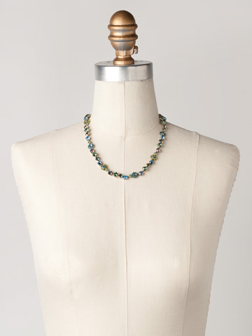 Classic Crystal Floral Necklace in Antique Silver-tone Ocean displayed on a necklace bust