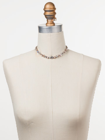 Classic Crystal Floral Necklace in Antique Silver-tone Silky Clouds displayed on a necklace bust
