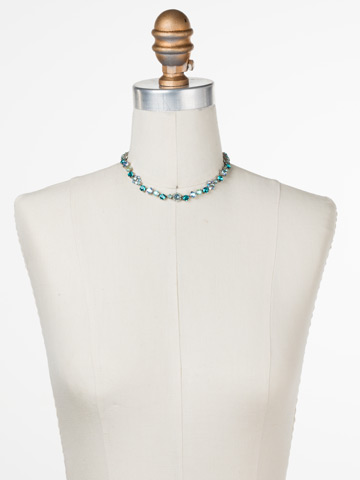 Classic Crystal Floral Necklace in Antique Silver-tone Sweet Mint displayed on a necklace bust