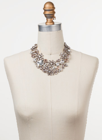 Floral Collar Statement Necklace in Antique Silver-tone Soft Petal displayed on a necklace bust