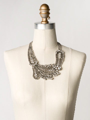 Crystal Paisley Statement Necklace in Antique Silver-tone Crystal Rock displayed on a necklace bust