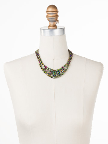 Crystal Double Row Octagon Necklace in Antique Gold-tone Volcano displayed on a necklace bust